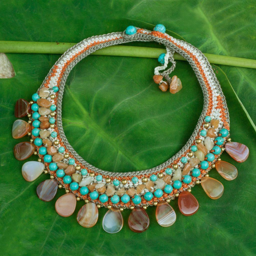 Multi Gemstone Crocheted Choker Necklace, 'Dawn Sun' Hand Crafted NOVICA