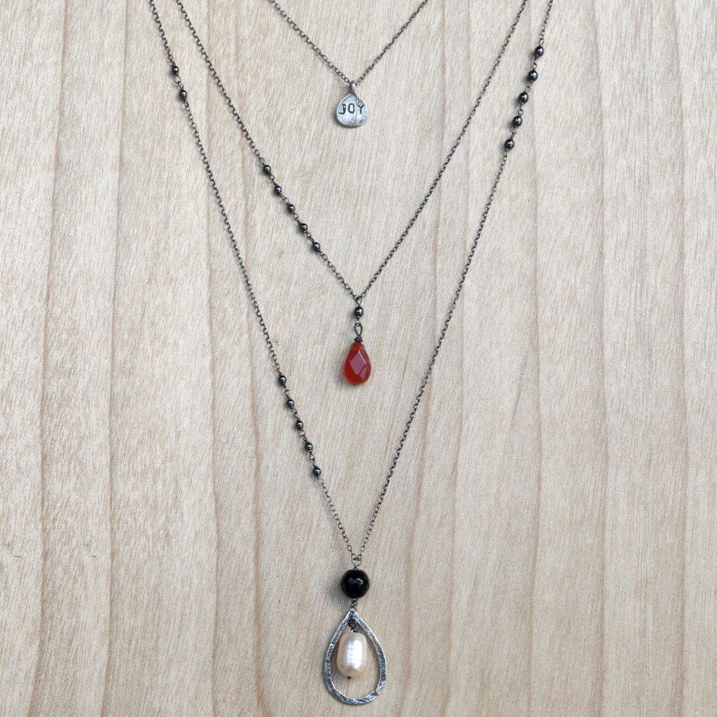 Multigem Cultured Pearl Onyx Pendant Necklace Indonesia, 'Triple-Layered Joy'