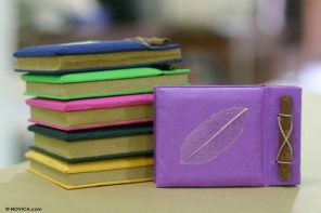 Natural Fiber Notebooks (Set of 6), 'Happy Leaf'