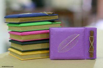 Natural Fiber Notebooks (Set of 6), 'Happy Leaf'
