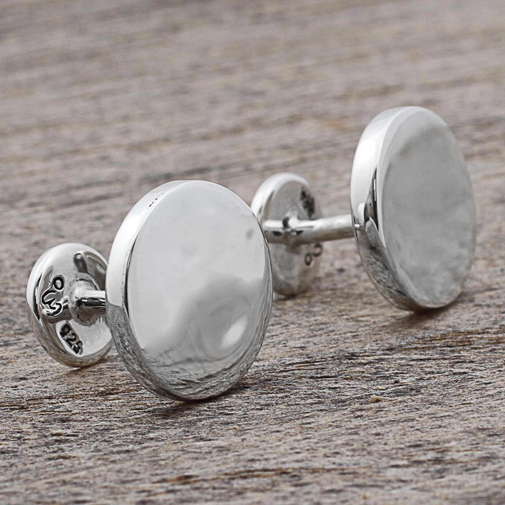 High Polish Sterling Silver Cufflinks Circular from Mexico, 'Splendid Moons'