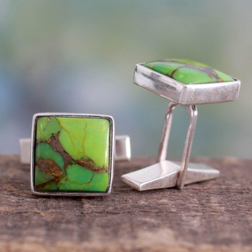 Sterling Silver Cufflinks with Green Stones, 'Adventurer'