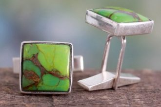Sterling Silver Cufflinks with Green Stones, 'Adventurer'