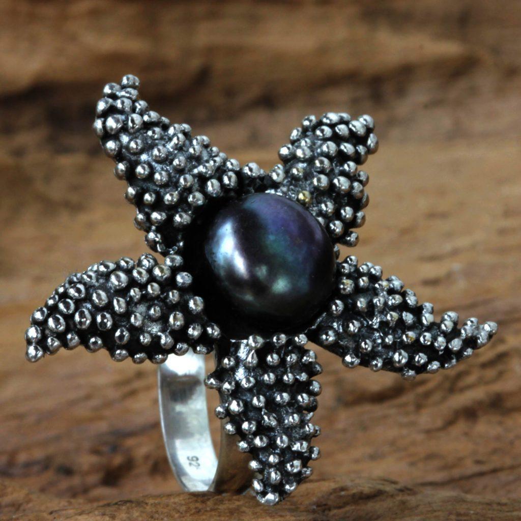 Purple Iridescent Pearl and Sterling Silver Ring, 'Menjangan Starfish'