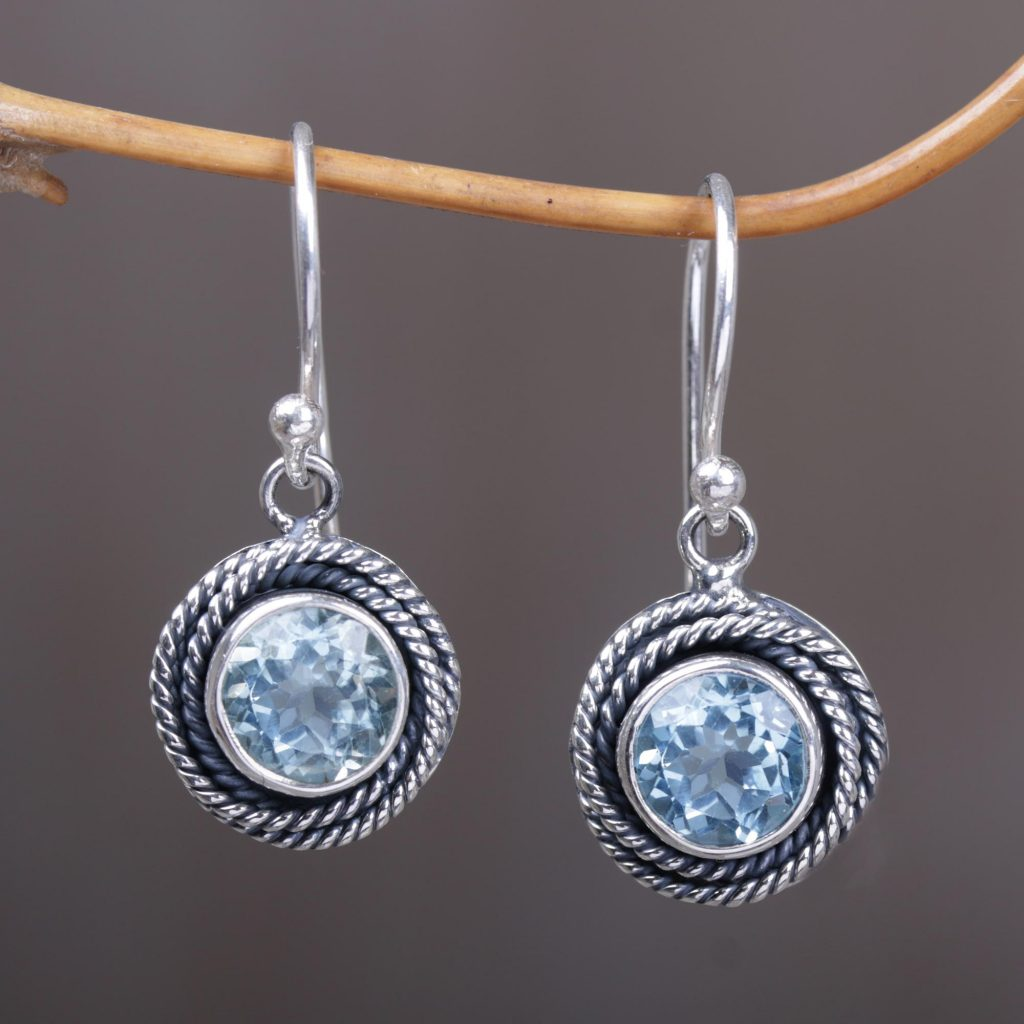 Round Blue Topaz Dangle Earrings Sterling Silver from Indonesia, 'Nest of Chains in Blue'
