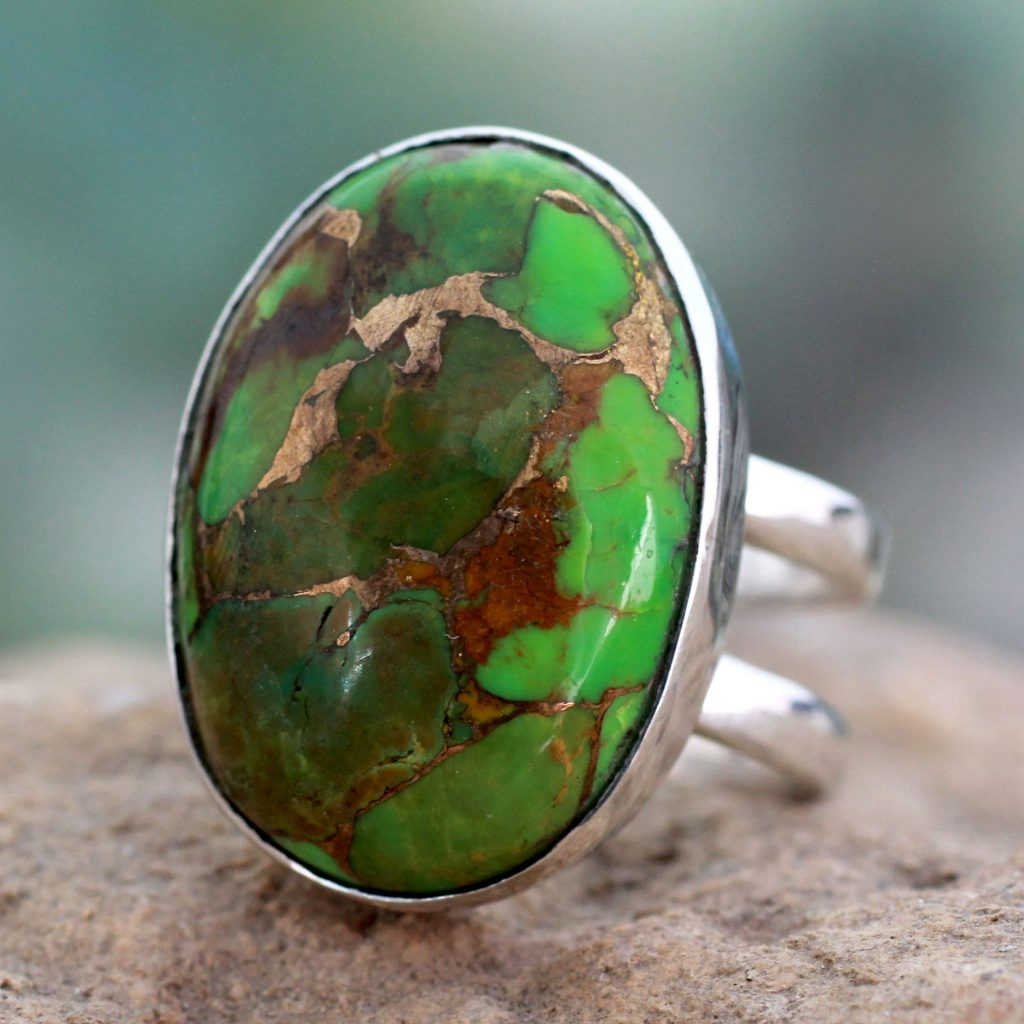 Green Composite Turquoise Sterling Silver Ring, 'Green Island' NOVICA