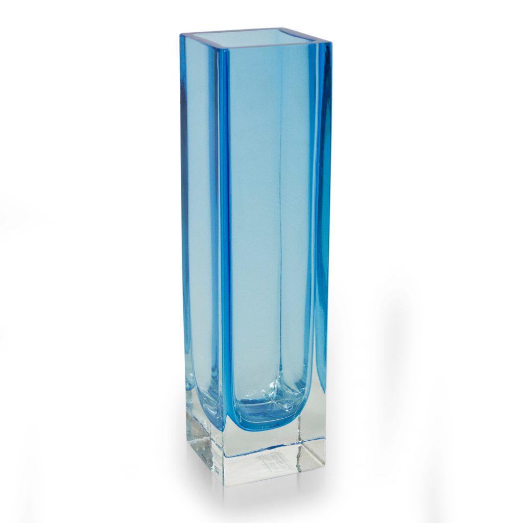 Hand Blown Blue Glass Vase Murano Inspired from Brazil, 'Radiance in Aquamarine' NOVICA Fair Trade