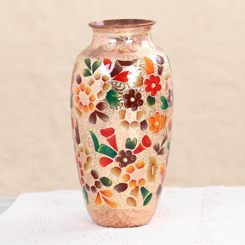 Handmade Copper and Gold Leaf Vase with Floral Design, 'Floral Elegance' NOVICA Art