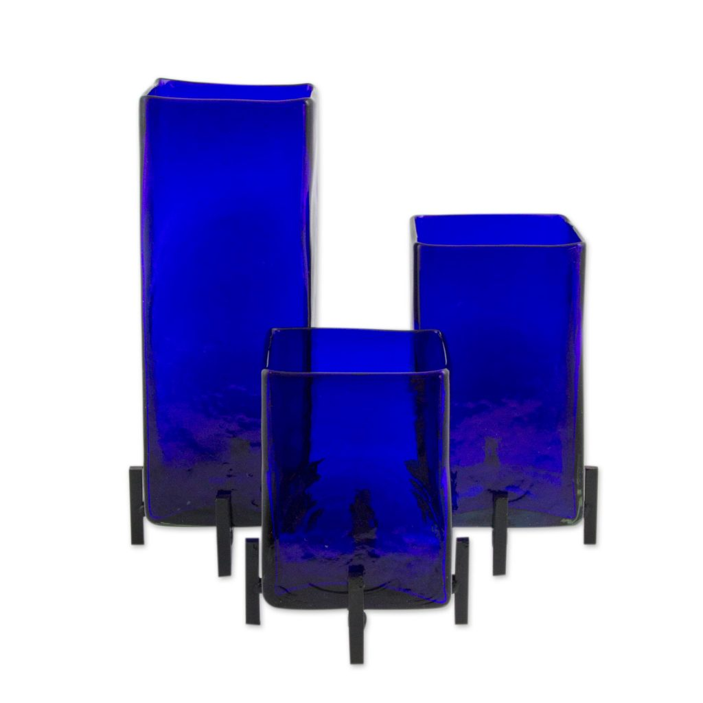 Mexican Handblown Glass Vases with Stands Set of 3, 'Blue Hurricane'