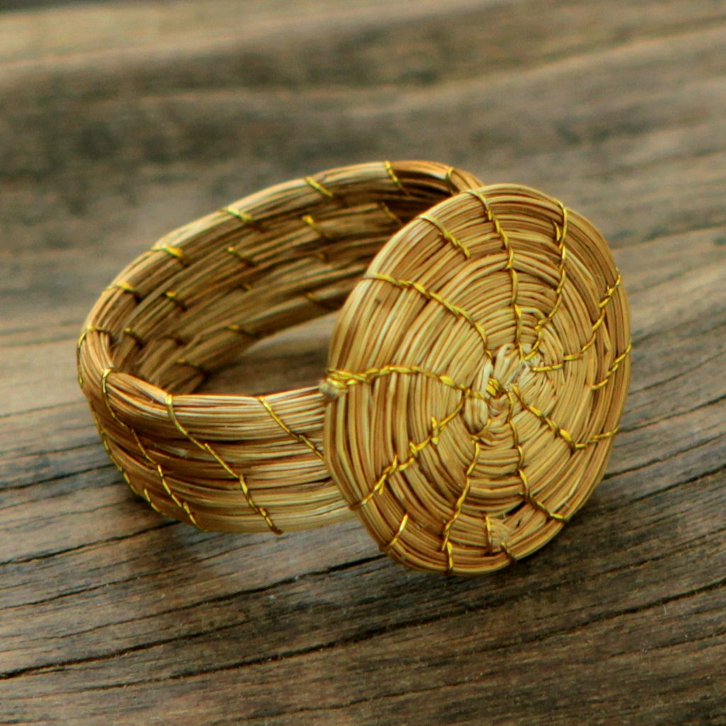 Fair Trade Golden Grass Hand Crafted Cocktail Ring, 'Sublime Nature'