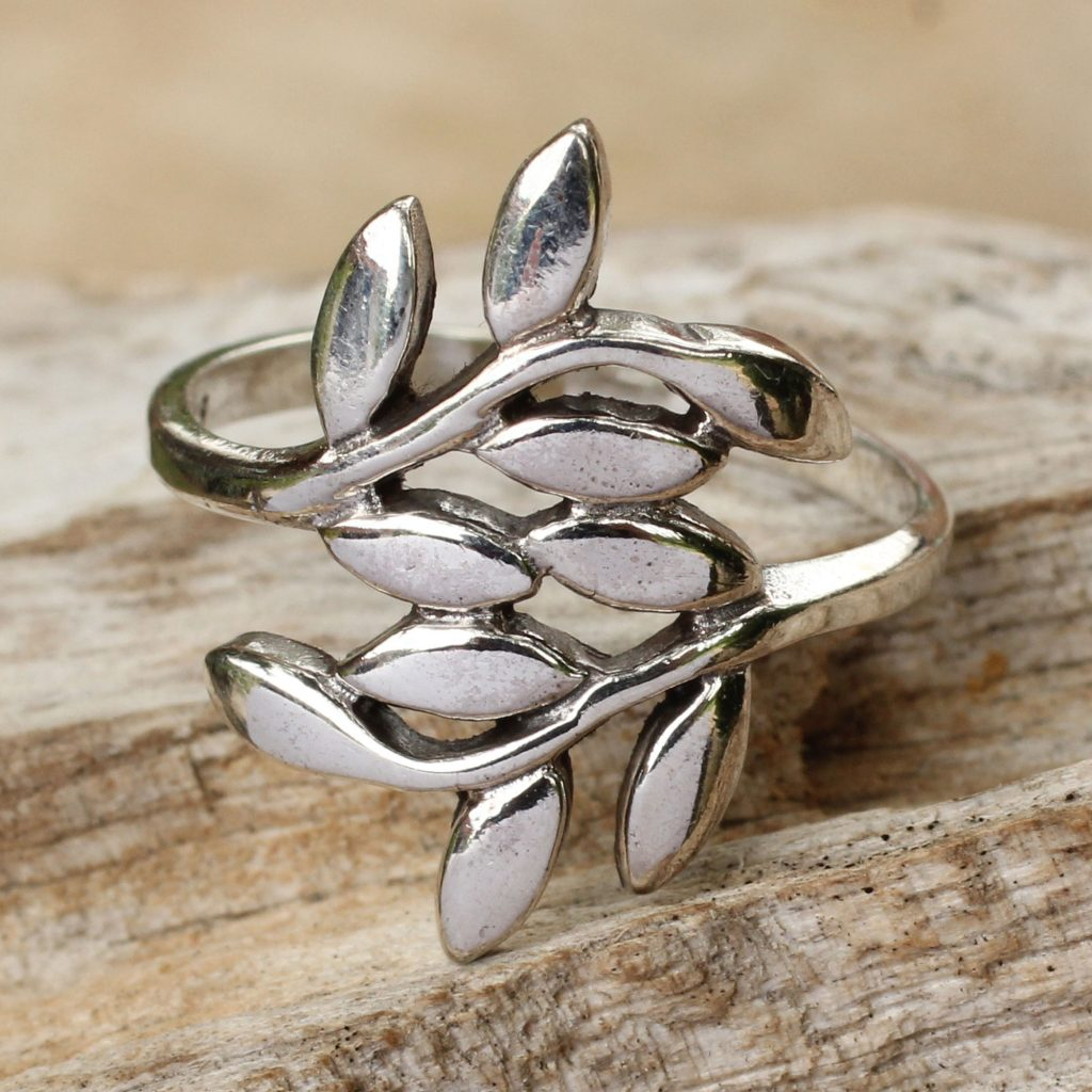 Sterling Silver Wrap Ring, 'Olive Wreath' leaves leaf NOVICA Fair Trade Artisan Jewelry