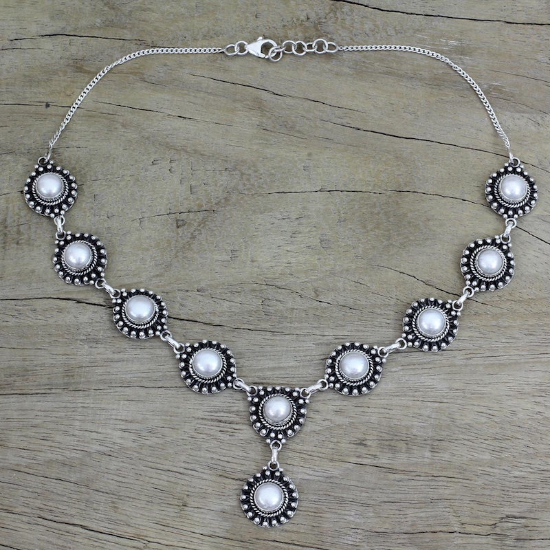 Pearl Y necklace Purity sterling silver NOVICA fair trade