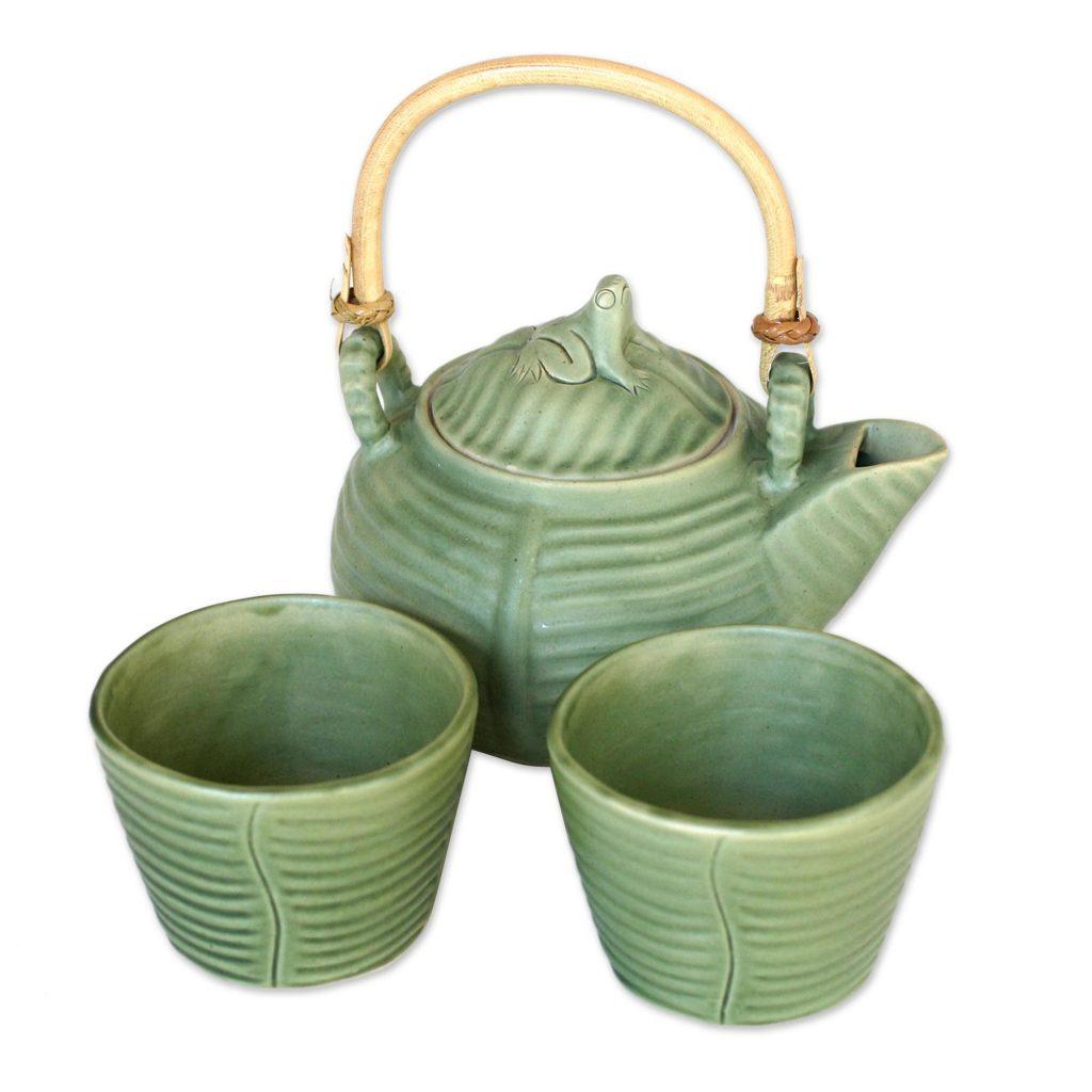 Leaf and Tree Celadon Ceramic Tea Set from Indonesia (Set for 2), 'Banana Frog'
