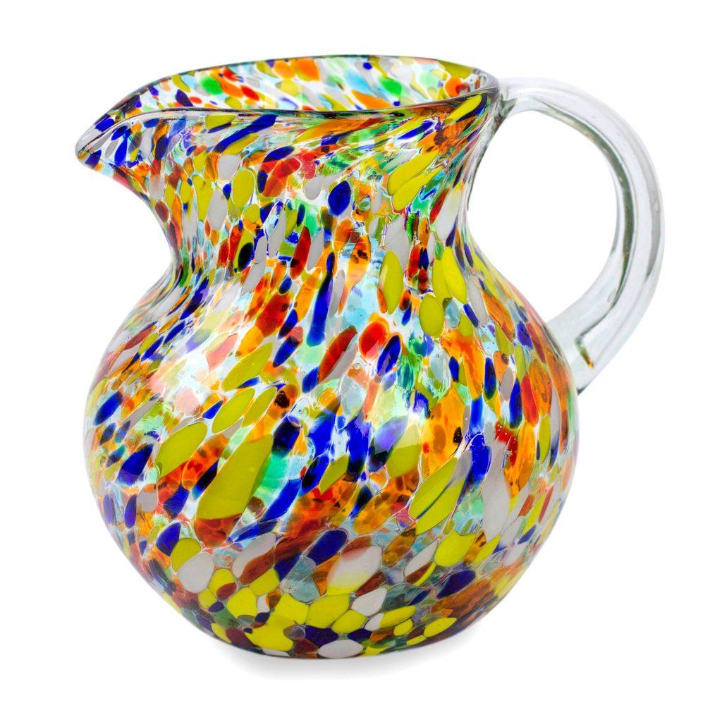Hand Blown Glass Pitcher 71 Oz Multicolor Mexican Art, 'Confetti'