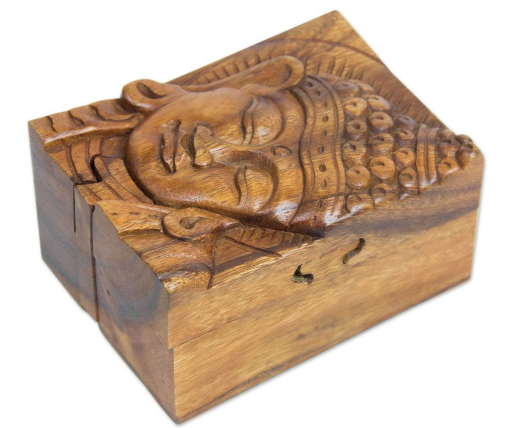 Hand-carved Wood Puzzle Box Buddhist Art, 'Glorious Buddha' Jewelry Box Keepsake Box NOVICA Fair Trade