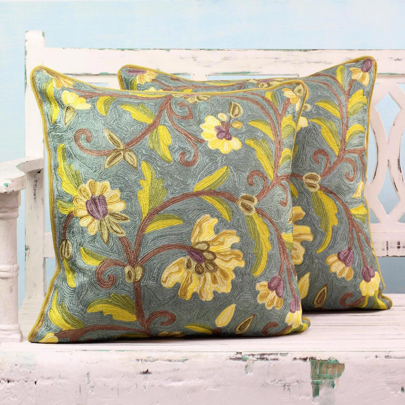 2 Embroidered Chainstitch Green:Yellow Floral Cushion Covers Yellow Indian Peony India NOVICA Fair trade
