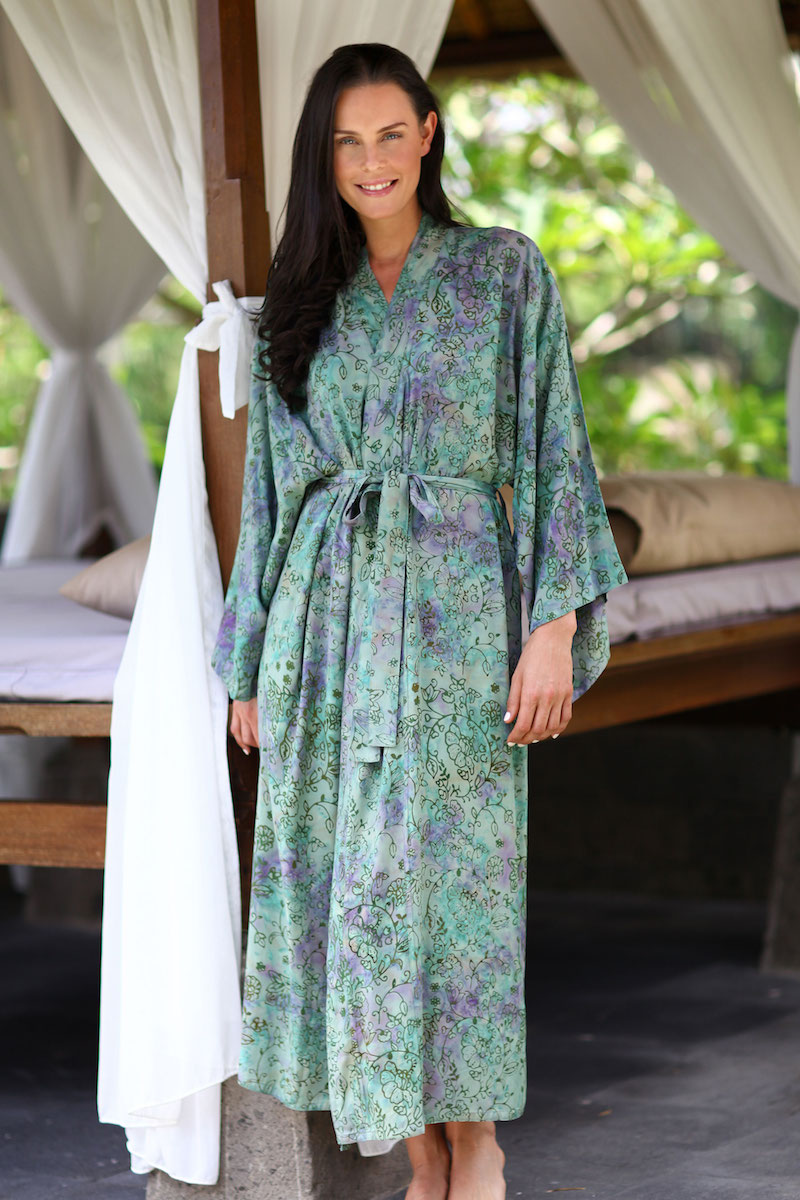 Batik robe Misty Javanese Forest hand crafted artisan made Indonesia Bali Mother's Day gift NOVICA Fair trade