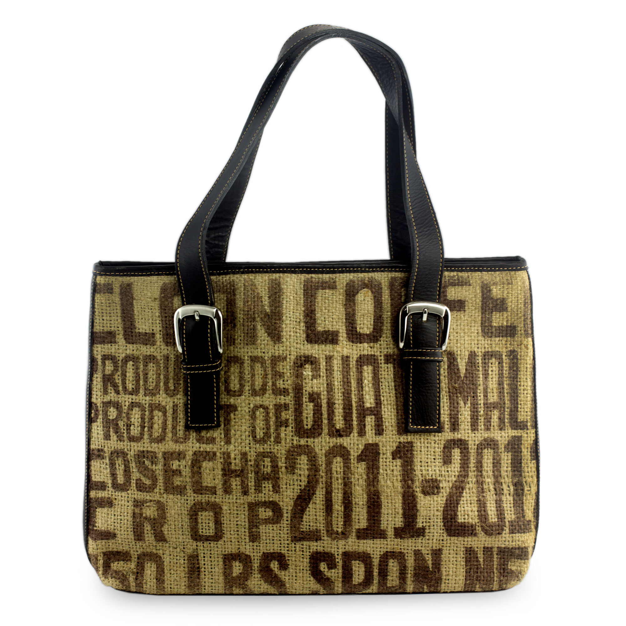 Recycled Jute and Leather Shoulder Bag from Guatemala, 'Clean Coffee'