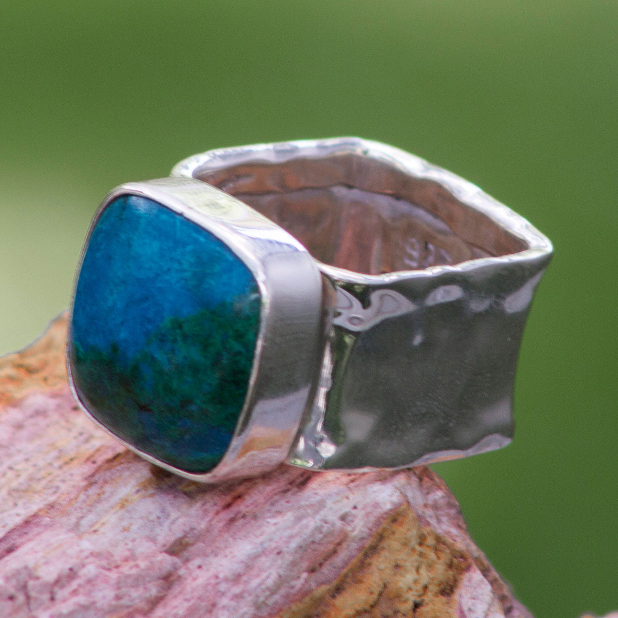Collectible Taxco Sterling Silver Chrysocolla Cocktail Ring, 'Always'