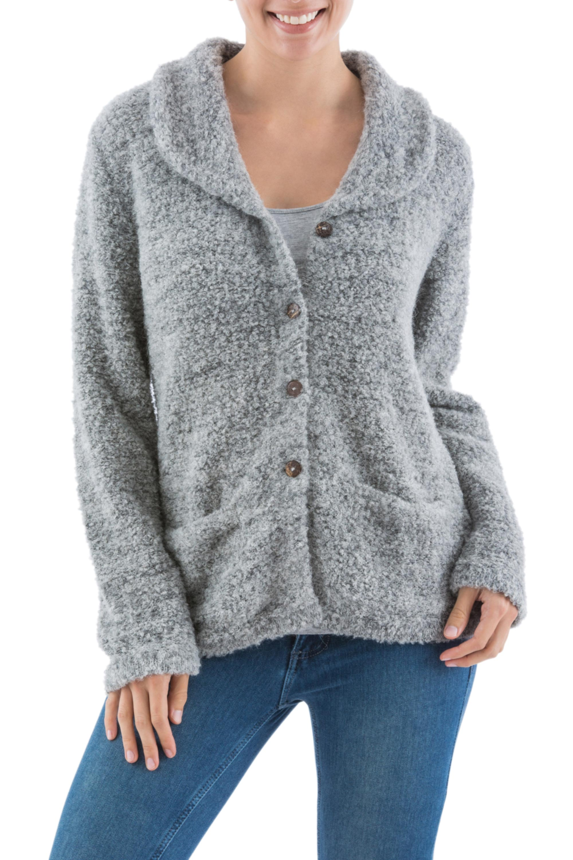Alpaca blend boucle cardigan, 'Pearl Grey' sweater Andes Artisan Crafted Alpaca Blend Grey Cardigan with Collar, 'Pearl Grey' NOVICA