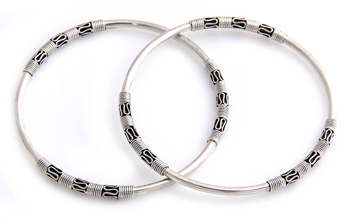 Artisan Crafted Sterling Silver Bangle Bracelets (Pair), 'Secrets' Indonesia