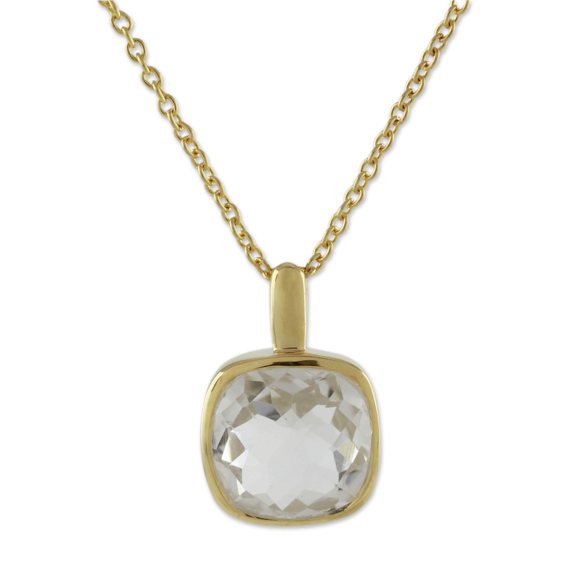 Gold vermeil quartz pendant necklace, 'Modern Charm'