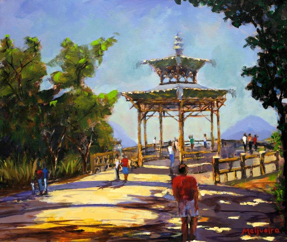 Landscape Impressionist Painting, 'View of Chinesa Rio' Original fine art NOVICA Fair Trade on canvas