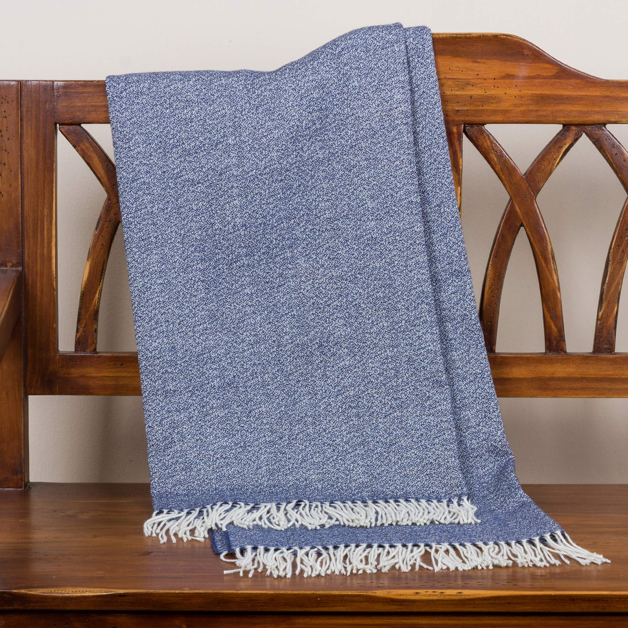 100% baby alpaca throw, blanket 'Indigo Love' blue fringe border