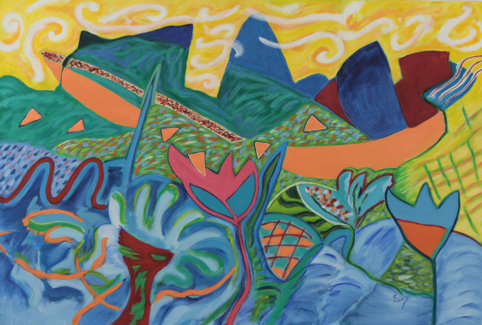Vivid Abstract Rio de Janeiro Landscape in Blue and Yellow, 'Rio de Janeiro II' Expressionism Original Expressionist fine art on canvas