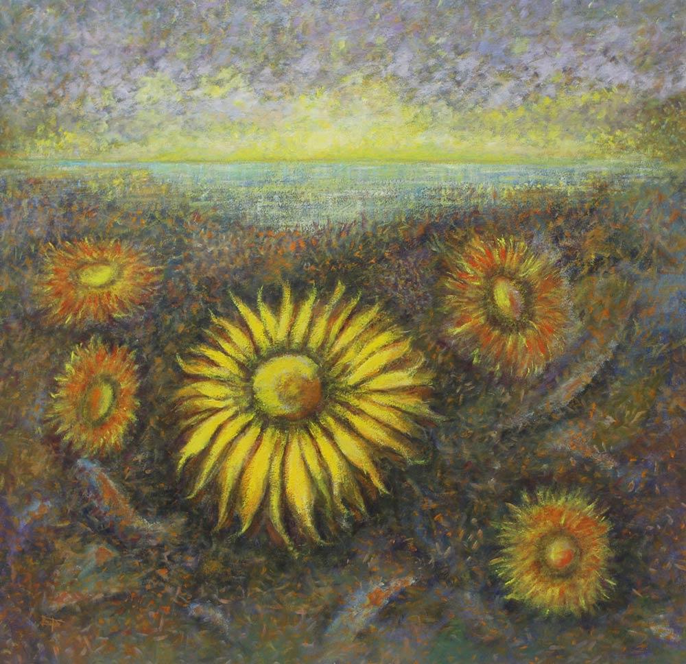 Landscape Impressionist Painting, 'Sunflowers' on canvas original fine art