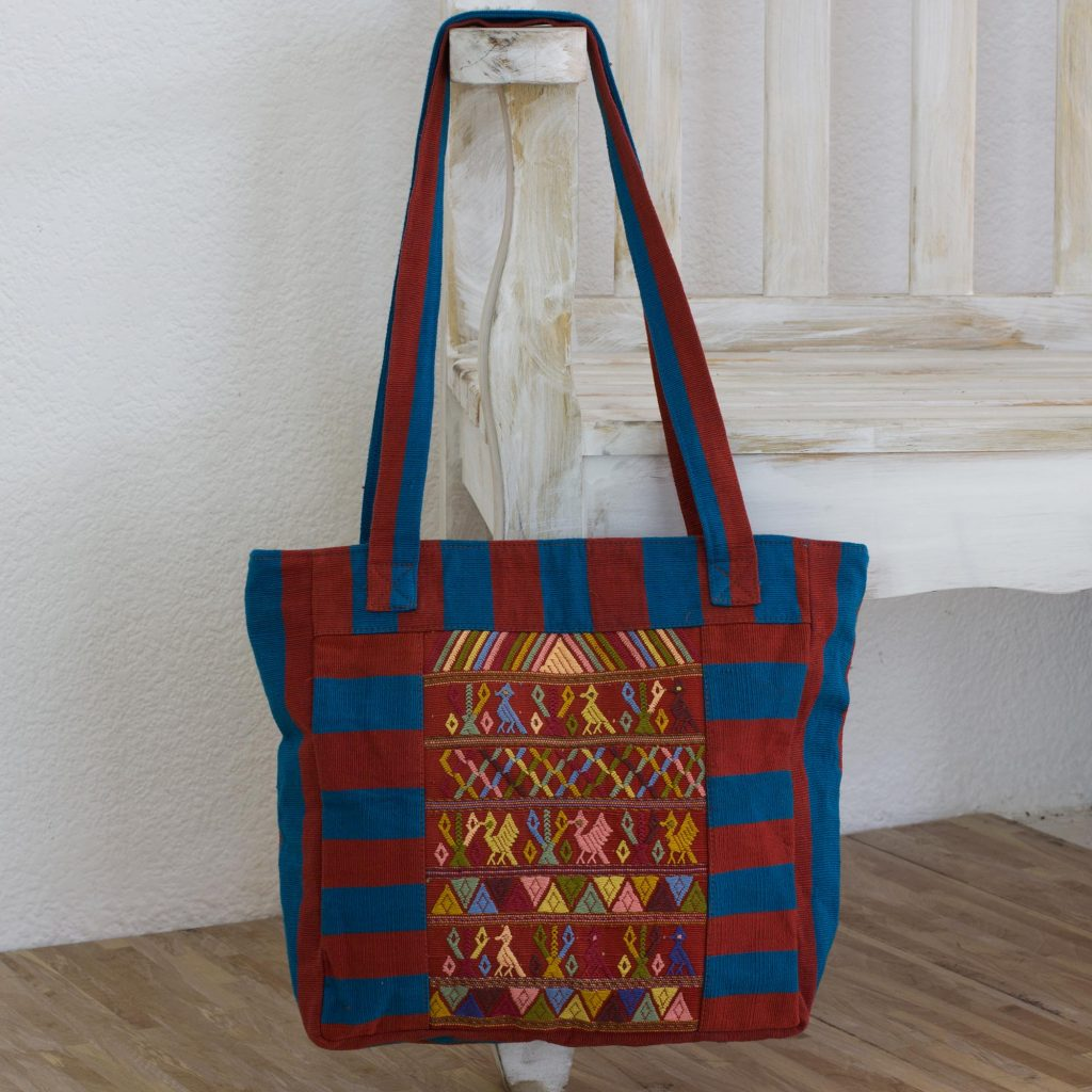 Artisan Crafted 100% Cotton Guatemalan Tote Bag, 'Harmony in Community' shoulder bag Artistic Gifts for Teachers