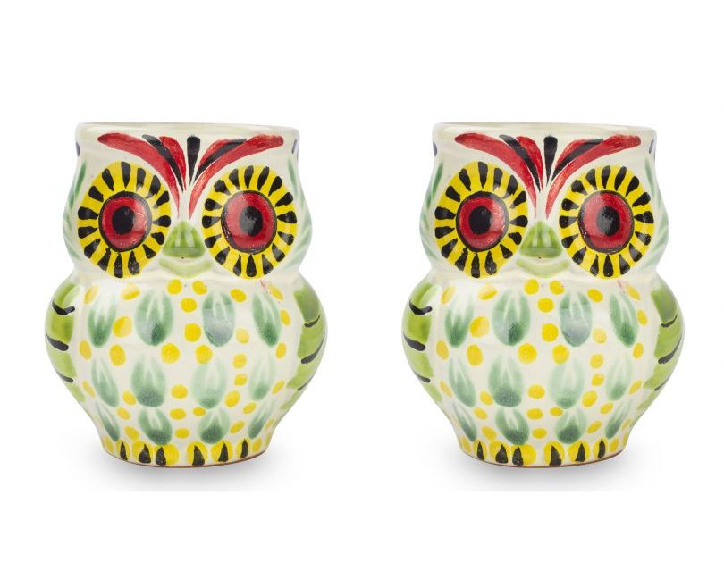 Artisan Crafted Majolica Ceramic Bird Mugs (Pair), 'Owl Hospitality' Artistic Gifts for Teachers