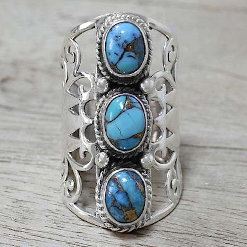 Sterling Silver and Blue Composite Turquoise Ring from India, 'Blissful Trio in Blue' Update Jewelry Collection