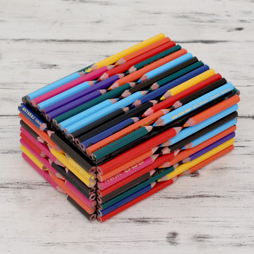 Decorative Box Hand Crafted with Multi Color Pencils, 'Color the World' Artistic Gifts for Teachers