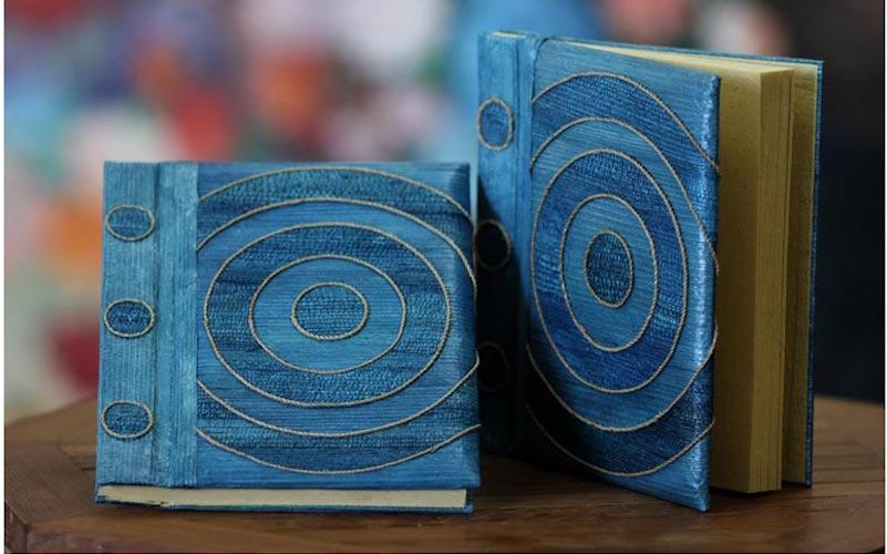 Handmade Natural Fiber Journals Hypnotic Blue Pair 2 Artistic Gifts for Teachers