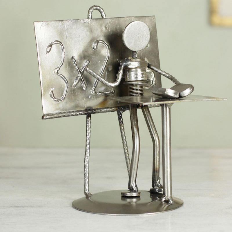 Collectible Recycled Car Parts and Metal Sculpture Rustic, 'Rustic Professor' Artistic Gifts for Teachers