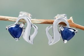 Graceful Handcrafted Sterling Silver Earrings with Sodalite, 'Blossoming Vine'