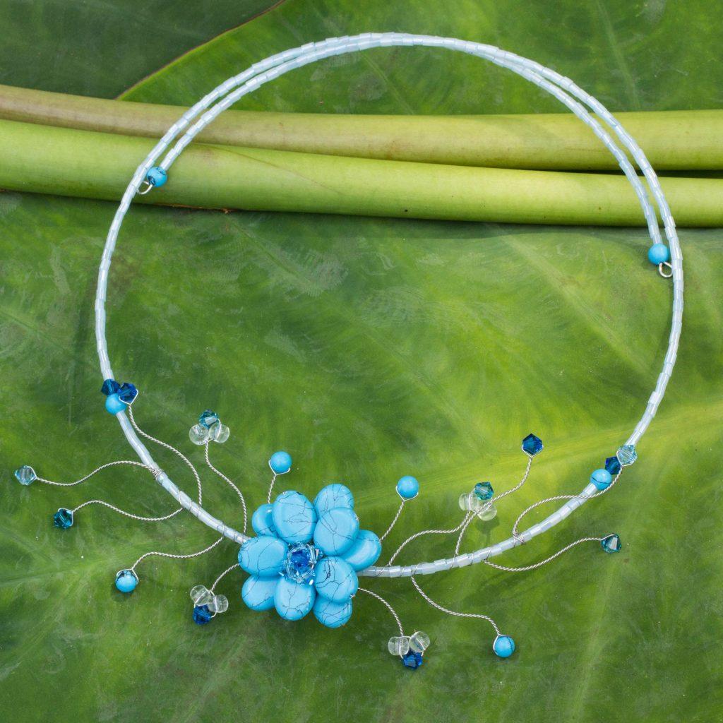 Handmade Thai Floral Necklace, 'Blue Beauty' NOVICA Fair Trade Choker Necklaces quartz calcite crystal Japanese glass