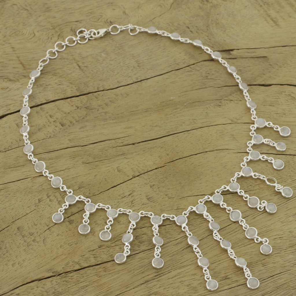 Artisan Jewelry Sterling Silver Choker Moonstone Necklace, 'Radiance' How to Wear Choker Necklaces