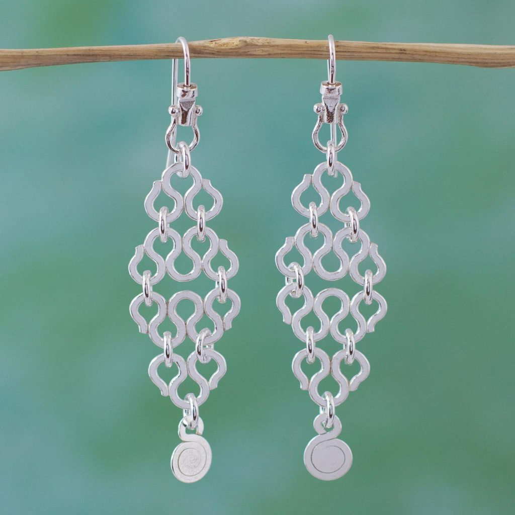 Handcrafted Sterling Silver Dangle Earrings from Mexico, Spiraling Waves, jewelry