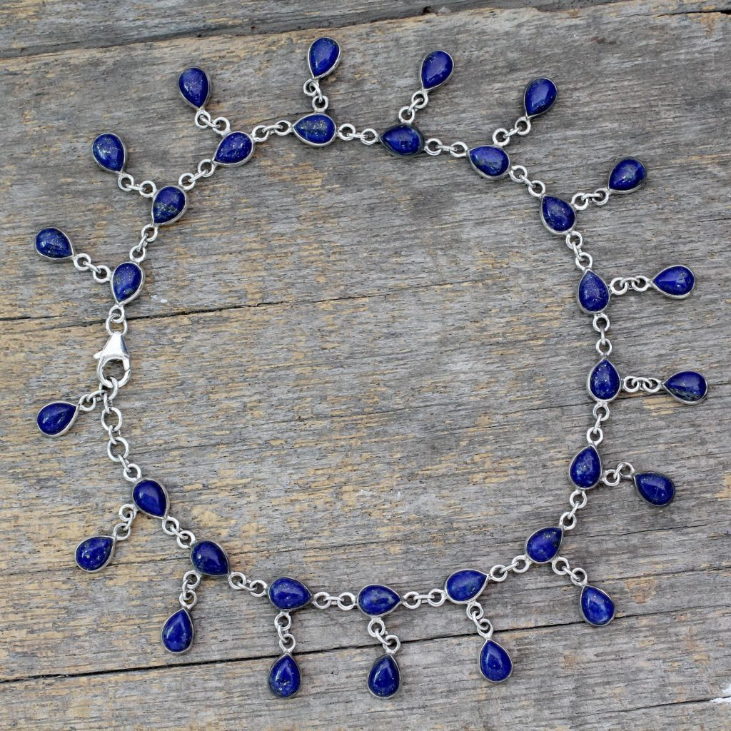 Lapis Lazuli and 925 Silver Anklet from Indian Artisan, Royal Dewdrops, jewelry
