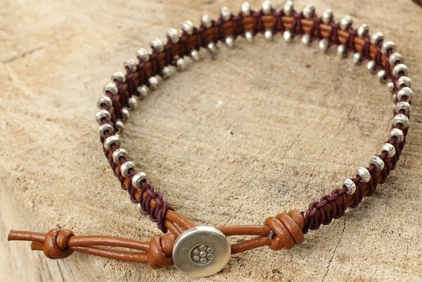 Florid Silver Beads on Hand Crafted Brown Leather Bracelet, Hill Tribe Bouquet