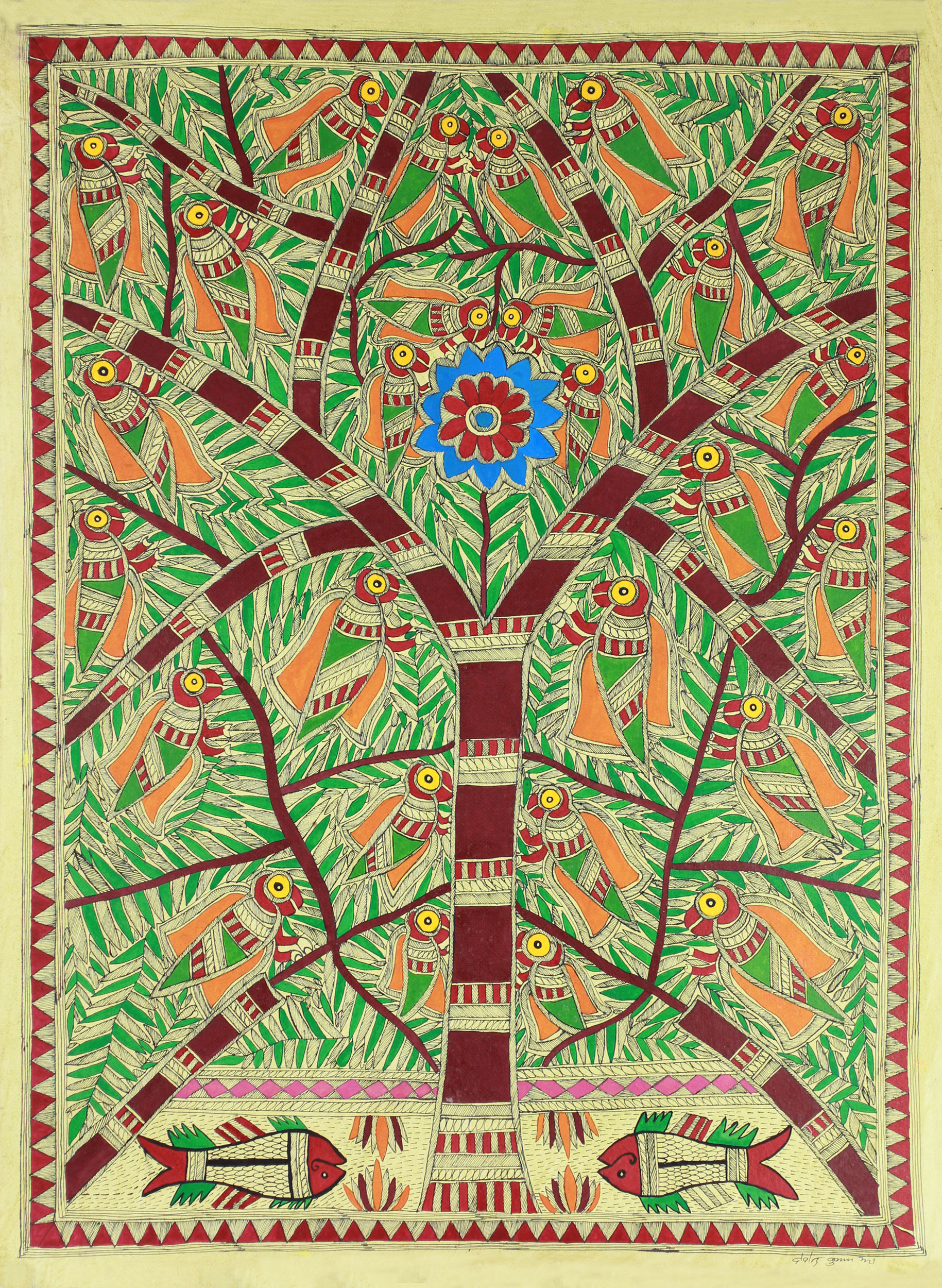 Original Madhubani Tree of Life Folk Art Painting Tree of Life Birds and Fish on handmade paper India folk art NOVICA Fair Trade