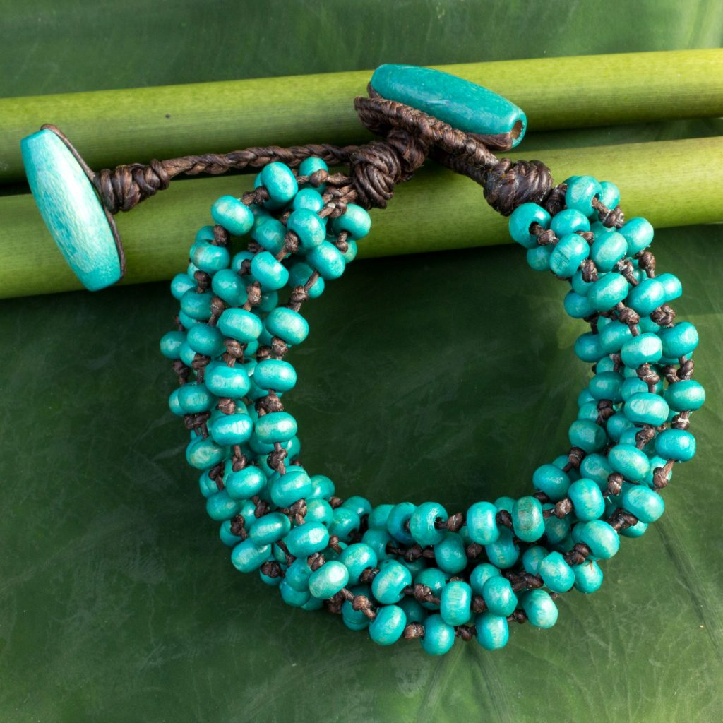 Blue Torsade Bracelet Wood Beaded Jewelry, 'Mekong Belle' Update Jewelry Collection