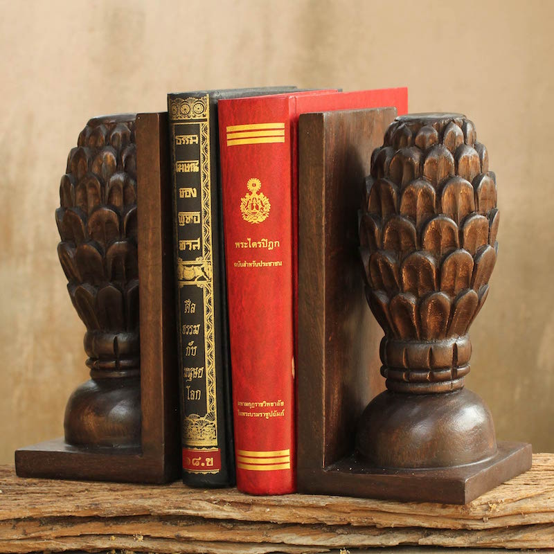 Wood bookends Pair Trees of Knowledge Hand carved home decor fair trade Artistic Gifts for Teachers
