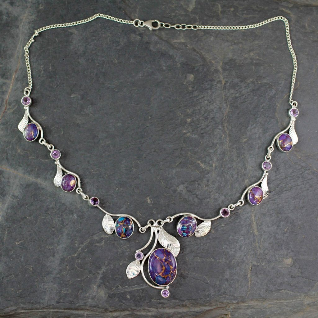 Purple Turquoise and Amethyst Handmade Necklace from India, 'Dew Blossom'