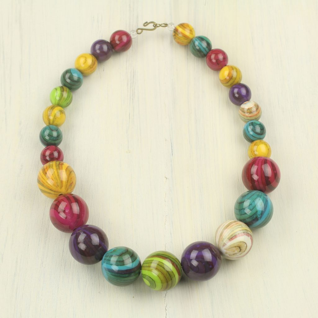 Eco-Friendly Colorful Recycled Plastic Bead Necklace, 'Wild Planet'