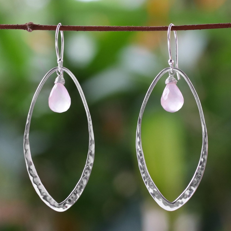 Artisan Crafted Rose Quartz and Silver Dangle Earrings, 'Lily Dew' Rose Quartz jewely