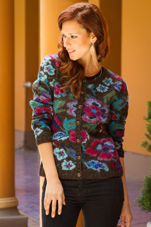 Art Knit Alpaca Wool Cardigan from Peru, 'Geraniums' Coconut shell buttons soft Wool Sweater Care