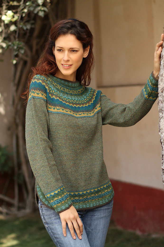 Hand Crafted Alpaca Pullover Sweater, 'Inca Valley' olive green fair trade novica Wool Sweater Care